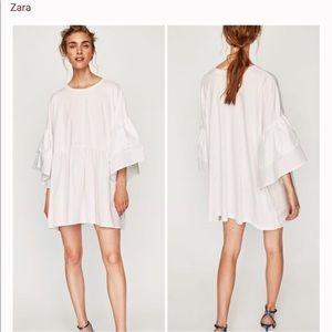 Zara S white tunic shirt dress
